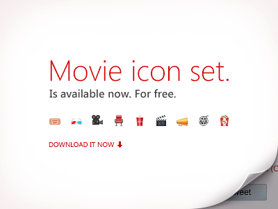The Movie Icon Set. Download for free. movie cinema film icons illustration free freebies download psd set kit pack small big camera ticket popcorn clapperboard coke anaglyph photoshop shapes
