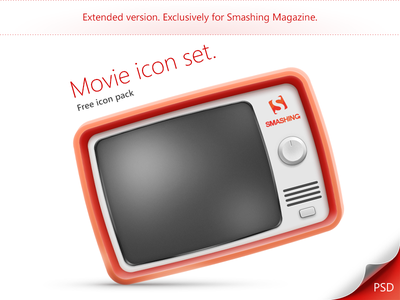 Movie icon set. Extended version. psd freebies icons set pack icon camera film cinema layered psd clapperboard film reel tv ticket photoshop
