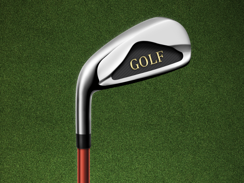 Golf club golf metal stick twang game retina ipad red gold grass photoshop