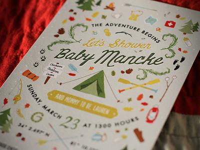 Baby Mancke baby invitation outdoors camping