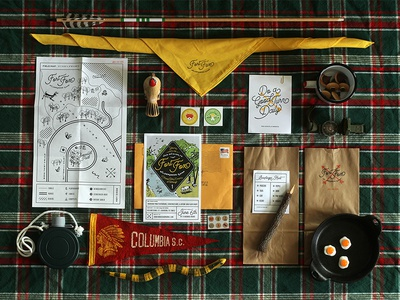 Fort Fox Wilderness Camp illustration merit badge wilderness camping outdoors map script branding boy scouts invitation