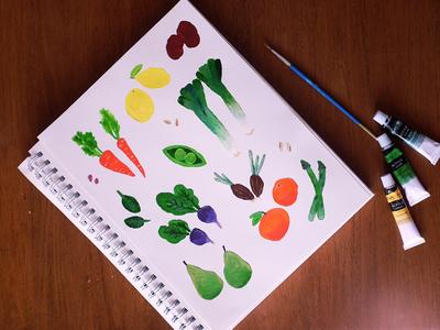 Vegetable Twins farmers market acrylic painting invitation twins vegetables illustration