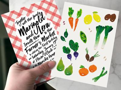 Twins' First Birthday acrylic painting script farmers market childrens invitation vegetables illustration