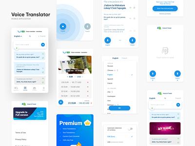 Voice Translator design translator currency exchange voice interface app interaction application mobile ui ux mobile app