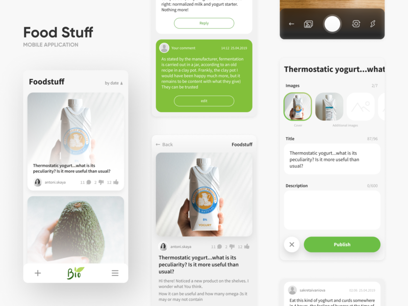 Food Stuff - Healthy food eating review camera products vitamins diet application mobile mobile app app interaction ui ux interface design food app bio healthy heath food
