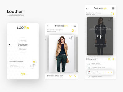 Loother - Clothes Shop intelligence wheather wardrobe business commerce clothes application mobile mobile app app interaction ui ux interface design