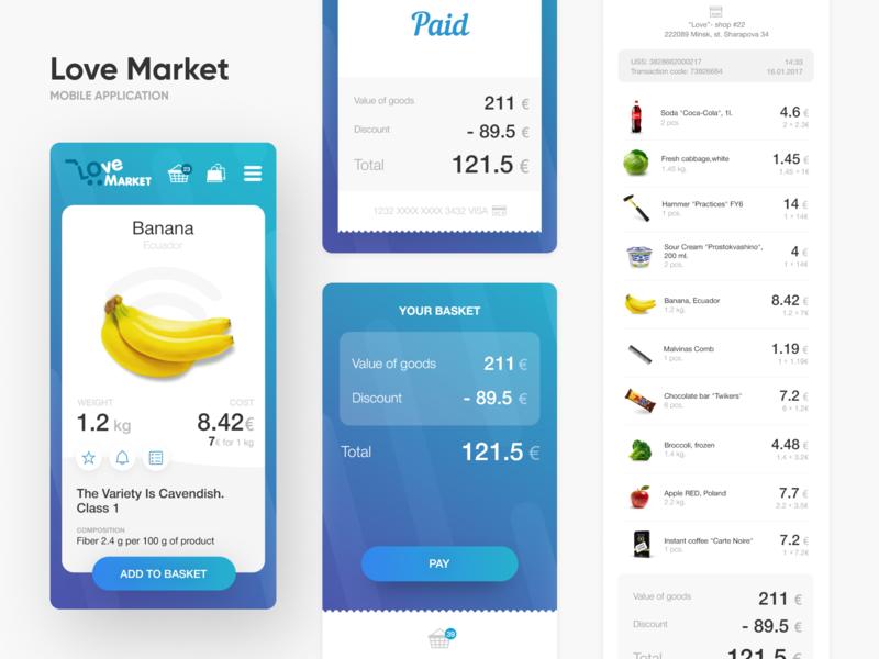 Lovemarket - Shop without cashiers animation design app basket product banana market shop commerce catalog application mobile mobile app app interaction ui ux interface design