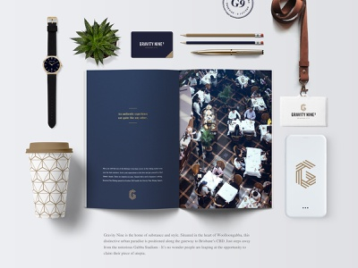 Gravity Nine - Luxury Living luxury apartments development real estate realestate property developer flatlay design branding brand identity brand
