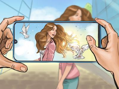 Storyboard shot girl storyboarding storyboard smartphone phone illusration