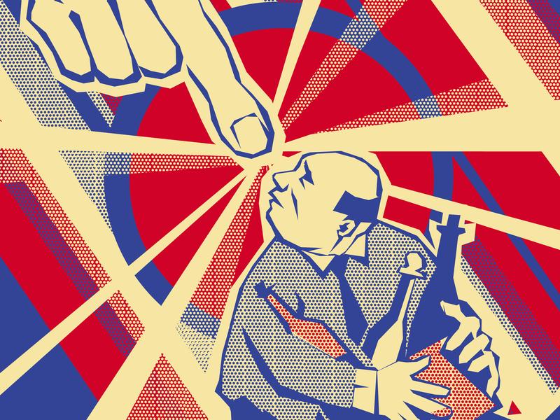 Stylized as revolutionary posters hand drinks man revolution stylization illustration