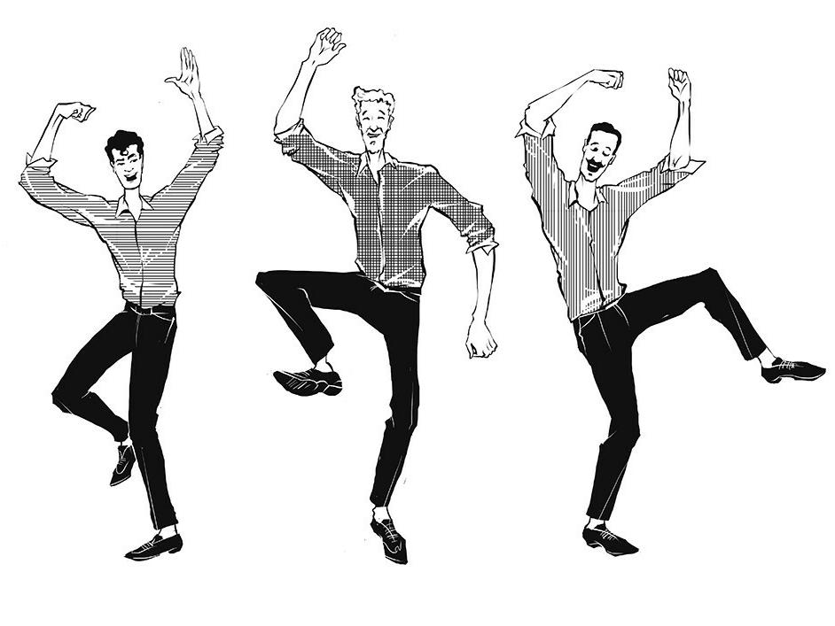 The illustration for AnyBodyHome agency. dance music move black black  white men fashion dance men illustration