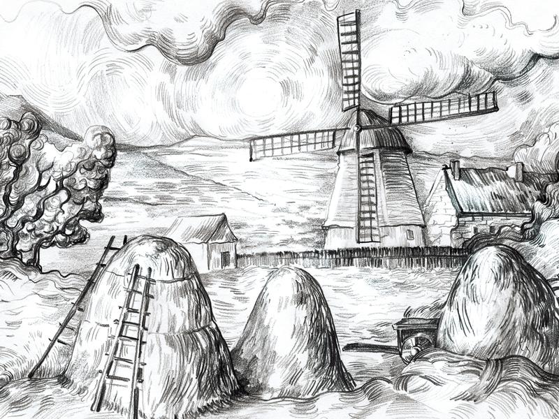 Sketch pencil art drawing van gogh landscape sketch illustration