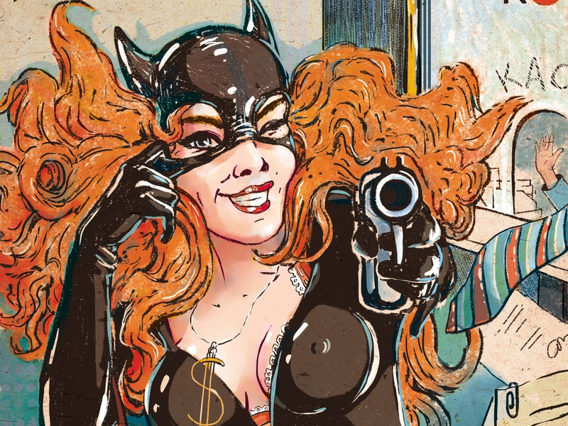 A bank robbery for Woman`s Health magazine retro woman cat gun catwoman bank robbery illustration