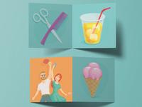Illustrations for advertising items for summer festivals.