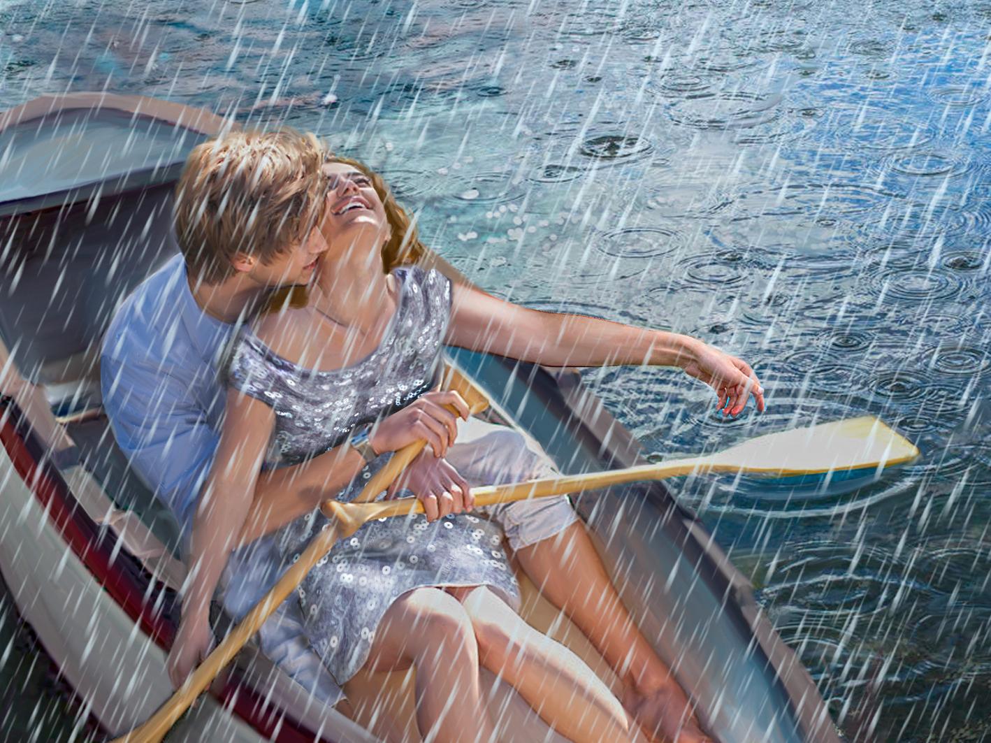 We do storyboarding love lovers relationship rainy river boat storyboard rain girl illustration