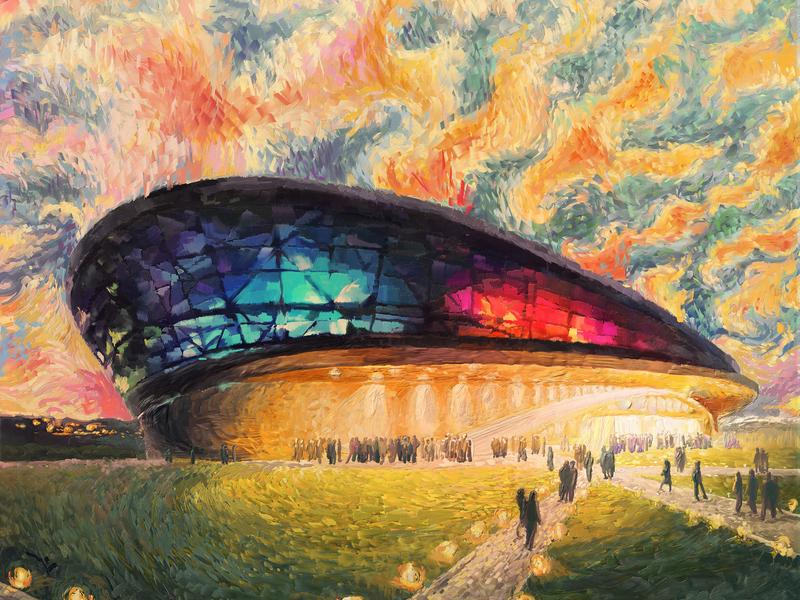 Stylization. Impressionism architecture people lights evening stadium impressionism impression illustration