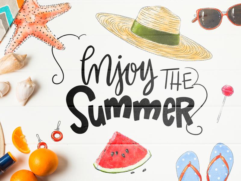 Free summer illustrations earrings glasses flip-flop watermelon sea star star hat sea illustrations summer free download download free illustration