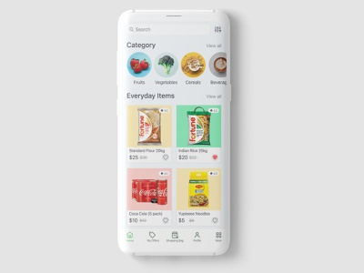 Grocery App   UI/UX Design Concept homesection offers beverage cereals fruits and vegetables online fruits dailyitems mockup minimalism design grocery list ecommere uxdesign uidesign grocery online grocery store grocery app grocery ux ui