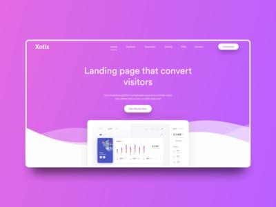 Xotix Website Redesign: Daily Challenge #3 landing page website web design webdesign web ui typography simple minimal figma design daily challenge colors clean gradient 2020 trends 2020
