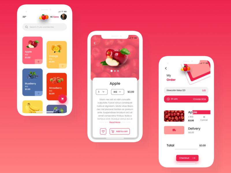Food App mockup ux ui trend fruits simple minimal ios icon flat figma design colors clean app 2020