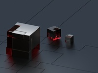 3D metal and glass cubed