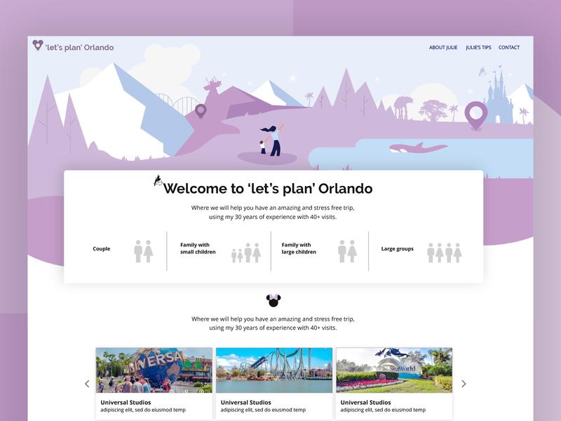 'Let's Plan Orlando' website website design vector webdesign app design illustration branding ui  ux product designer ui web design website