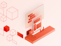 Isometric illustration for showcasing powerful API
