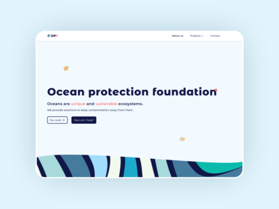 Ocean Protection Foundation - Landing page web simple project colors home webdesign website landing page landing figma design illustration ux ui