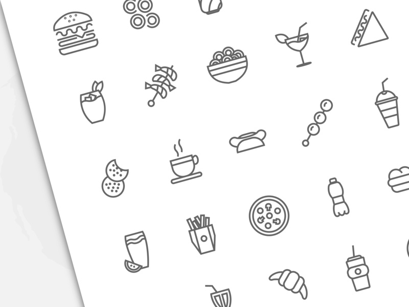 Fast Food Icons lunch sushi fastfood cream chicken ice fries vector meat outline stroke pizza set burger bread snack sandwich food line icon