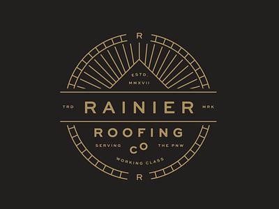 Rainier Roofing T-shirt monoline roofing badge stamp lockup branding logo
