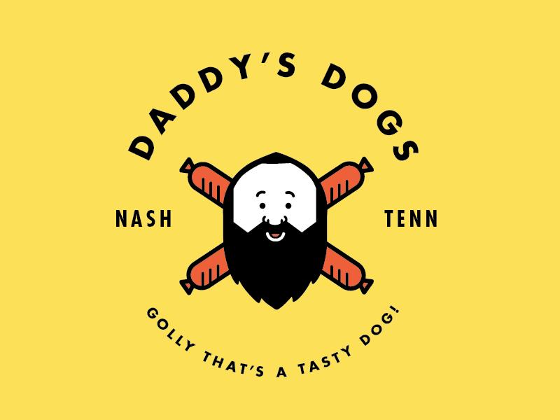 Daddy's Dogs logo identity hot dogs branding