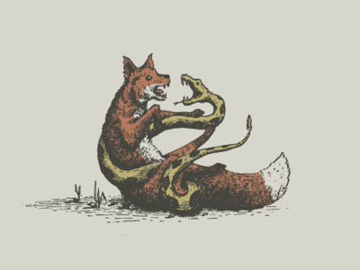 Wrestle your fears snake fox illustration