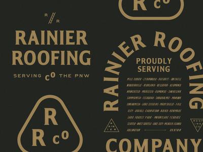 Rainier Roofing system identity logo