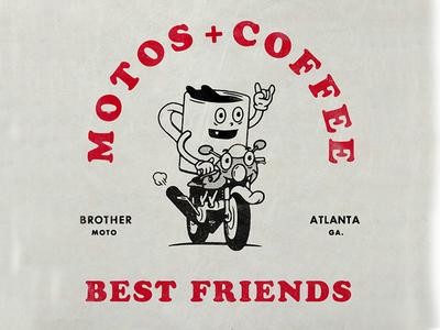 Motos & Coffee motorcycle illustration