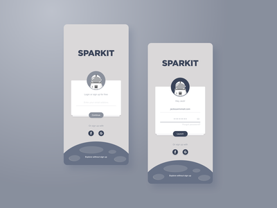 Sparkit Login Screen