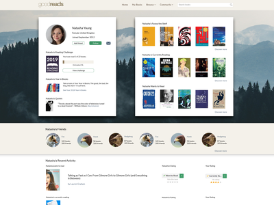 Goodreads user profile re-design ux website web ui design
