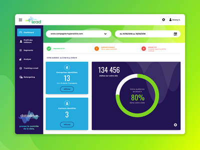 Datadrive Lead Dashboard big data solution bigdata app datadrive tracking app desktop dashboard appdesign greenapp greengradient saas design retargeting webdesign design interface uidesign dashboard ui dashboard