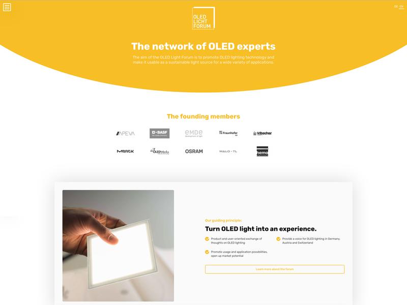 Landing Page for OLED Light Forum landingpage webflow webdesign web design