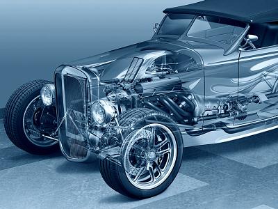 QuadraDeuce Hot Rod Illustration line art illustration cutaway automotive technical illustration