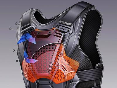 ICON Field Armor 3 Illustration automotive line art advertising motorcycle cutaway illustration technical illustration