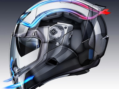 ICON Airflite illustration motorcycle technical illustration