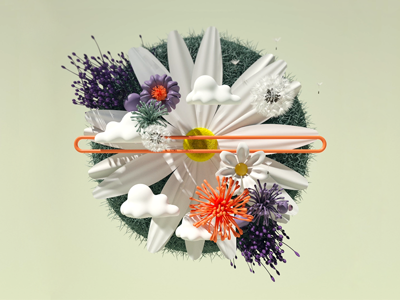 Spring colors adobe cgart cgi maxonc4d illustration design render photoshop octane flower art cinema 4d 3d art 3d