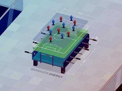 Foosball isometric illustration game energy culture studio91 fun foosball
