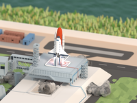 Launching stuff into space space rocket launchpad launch spaceship lowpoly 3d blender after effects animation