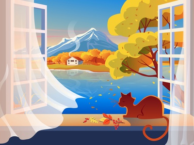 The lake house evening pond the lake house landscape vacation tree mountains mellow autumn autumn cat cat lady lake tahoe window lake vector illustration