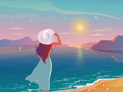 Sea sunset путешествие отпуск морской закат закат вектор векторная графика beach девушка в шляпе отдых sea life sunset sea design evening illustration