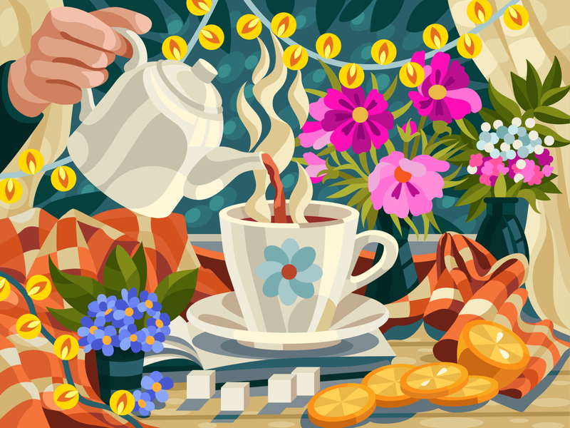 Plaid and tea gallerythegame dishes at home flowers illustration flowers vectorillustration illustration digital vector artwork cup still-life tea cup tea tea party illustration art gameillustration decorative illustration coloringbook beresnevgames vector illustration