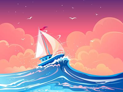 Ship inspiration sea sunset sunset summer sailing boat vector artwork gulls wind illustration journey illustrations pink nature illustration evening cloud sea seascape decorative illustration vector