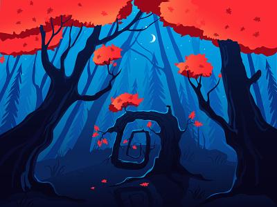 Square oak flatdesign red orange blue vector illustration vector trees night dense forest oak vector artwork forest decorative illustration illustration