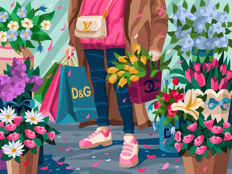Fancy look fashionista shopping pink brands spring modeler flowers illustration art vectorillustration gallerythegame coloringbook beresnevgames vector artwork decorative illustration vector illustration